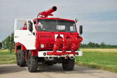 Fire truck on the airfield Stock Photo