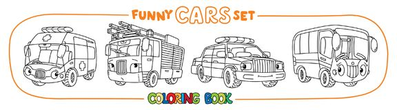 Funny small cars with eyes. Coloring book set. Fire truck, ambulance, bus and police car. Small funny vector cute cars with eyes and mouth. Coloring book set for Stock Images