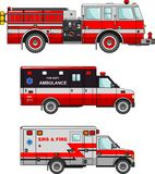 Fire truck and ambulance cars isolated on white. Detailed illustration of fire truck and ambulance cars in a flat style Stock Photos