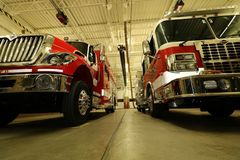 Fire Department. Fire truck apparatus inside royalty free stock photo