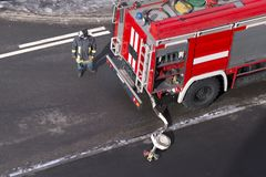 Fire truck arrived on an emergency call. High angle view stock photography