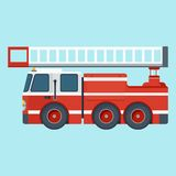 Fire truck on blue background. Vector cartoon red fire truck. Fire truck rescue engine transportation. Firefighter emergency. Flat cartoon illustration. Objects Stock Photo
