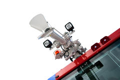Fire truck canon. Airport fire truck water canon isolated Stock Photo