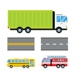 Fire truck car cartoon delivery transport cargo bus logistic  vector illustration. Mobile fast emergency service fast moving emergency commercial automobile Royalty Free Stock Photo