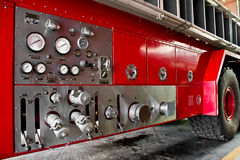 Fire truck car firefighter rescue. Valve main control Fire truck car firefighter rescue Royalty Free Stock Images