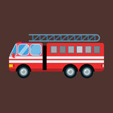 Fire truck car vector illustration isolated cartoon fast emergency service transportation. Fire truck car isolated cartoon silhouette. Fire truck mobile fast Stock Photography