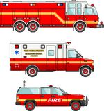 Fire truck and cars  on white background in flat style. Detailed illustration of fire truck and cars in a flat style Royalty Free Stock Photo