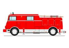 Fire truck. Cartoon classic fire truck. Side view. Flat vector Royalty Free Stock Images
