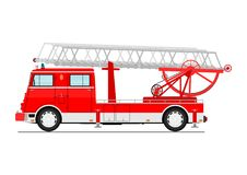 Fire truck. Cartoon classic fire truck. Side view. Flat vector Royalty Free Stock Photography