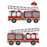 Fire truck cartoon illustration and cute puppy firefighter. Vector illustration isolated on white background Stock Photography