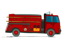 Fire truck cartoon. Sketch over white background Royalty Free Stock Images