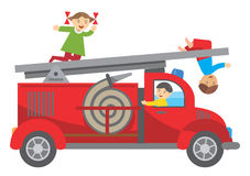 Fire truck and children. Three Children playing on the fire truck. Vector illustration Royalty Free Stock Photography