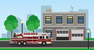 Fire truck on city background. Vector illustration Royalty Free Stock Image