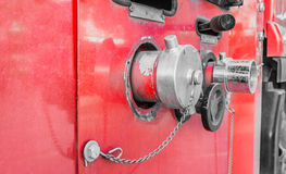 Fire truck close up equipment Stock Photo