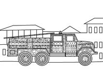 Fire truck coloring book for adults vector Royalty Free Stock Photos