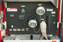 Fire Truck controls. A Fire Truck controls outside a firehouse Royalty Free Stock Image
