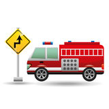 Fire truck with curve road sign. Vector illustration eps 10 Stock Image