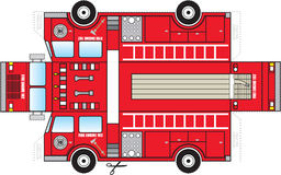 Fire Truck Cutout. Illustration of fire truck.  Can be cut out and glued together to create a three dimensional fire truck toy Stock Image