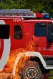 Fire truck in danger Stock Photos