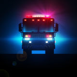 Fire truck in the dark. Royalty Free Stock Photography