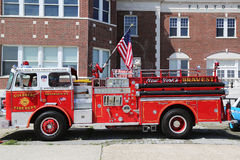 Fire truck on display at the Antique Automobile Association of Brooklyn annual Spring Car Show. BROOKLYN, NEW YORK - JUNE 8: Fire truck on display at the Antique Royalty Free Stock Photos