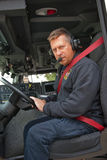 Fire Truck Driver with Headphone on Stock Photos