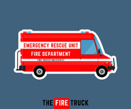 Fire truck. Emergency rescue car. Fire department bus. Fire protection district van. Special service vehicle. Vector illustration Stock Photos