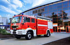 Fire truck. Emergency vehicle based on car chassis equipped with fire and other technical equipment Royalty Free Stock Photo