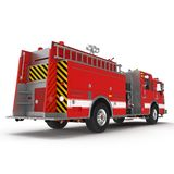 Fire truck or engine Isolated on White. Rear view. 3D illustration Royalty Free Stock Photos