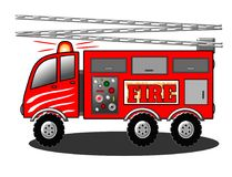 Fire Truck Engine with Ladder Illustration royalty free stock photography