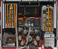 Fire Truck Equipment. Back of a fire engine showing equipment Royalty Free Stock Image