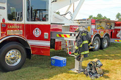 Fire truck and equipment display Berkshires MA Royalty Free Stock Photo