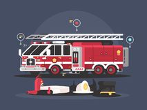 Fire truck and equipment for fire extinguishing. Vector flat illustration Stock Images