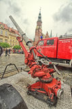 Fire truck and equipment at Fireman's Day Royalty Free Stock Photography