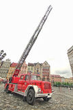 Fire truck and equipment at Fireman's Day. WROCLAW, POLAND - MAY 12: Fire truck and equipment at Fireman's Day celebration at the town hall square on may 12 2013 Stock Photography