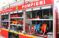 Fire truck equipment. Royalty Free Stock Images