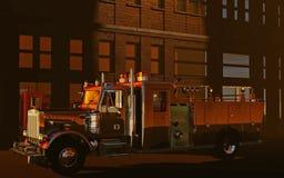 Fire truck in evening light. Digital illustration of a Fire truck in evening light Royalty Free Stock Image
