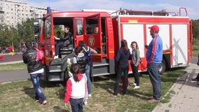 Fire truck. Exposed in the park in Romania stock footage