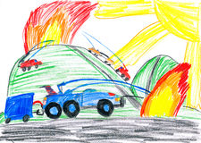 Fire truck extinguish flame in field. Fire truck extinguish fire in field. child drawing Stock Images
