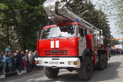 Fire Truck of Fire Department in Kislovodsk in the convoy at the stock photo
