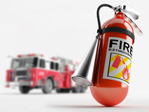 Fire truck and a fire extinguisher. Extinguisher on the background of a fire truck. Depth of field Stock Photo
