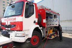 Fire truck. Fire rescue truck. Fire brigade, royalty free stock image