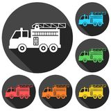 Fire truck, Fire station icons set with long shadow. Vector icon Stock Images