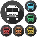 Fire truck, Fire station icons set with long shadow. Vector icon Stock Image