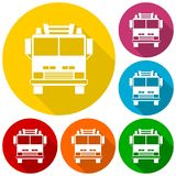 Fire truck, Fire station icons set with long shadow. Vector icon Stock Photos