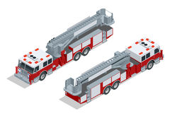 Fire truck . Fire suppression and victim assistance. Flat 3d isometric high quality city transport icon. Stock Photos