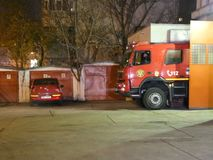 Fire truck. At Inspectorate for Emergency Situations `Dealul Spirii` Bucharest - Ilfov, Romania stock footage