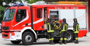 Fire truck of firefighter during an emergency Stock Photo