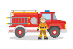 Fire truck with firefighter. On white background. Man in outfit with red car Stock Images
