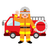Fire truck and firefighters children. Vector illustration.Original paintings and drawing Stock Photography